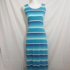 NwOt.  Merona blue and white full maxi dress.